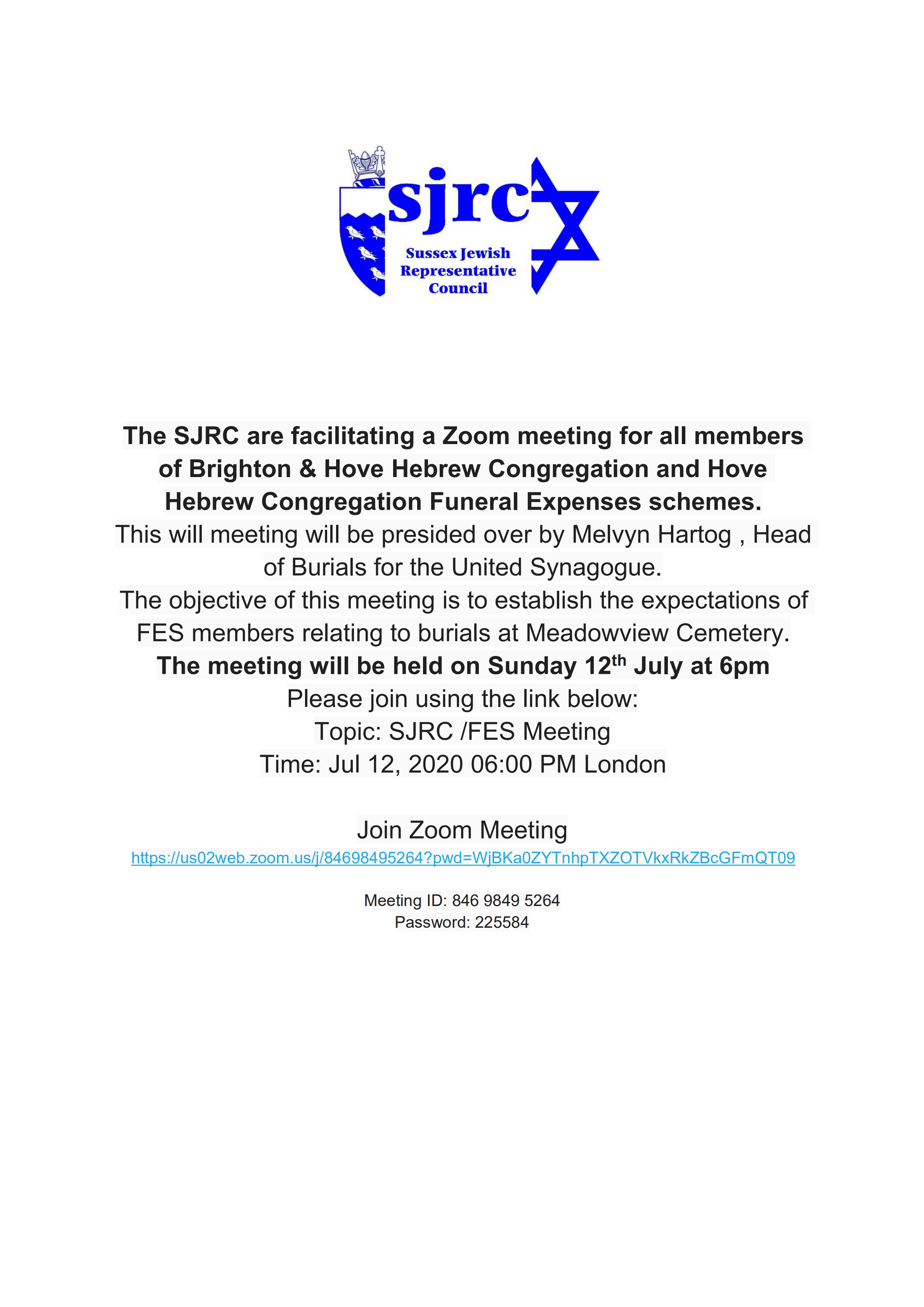 Meeting for members of local Orthodox Funeral Expenses Schemes