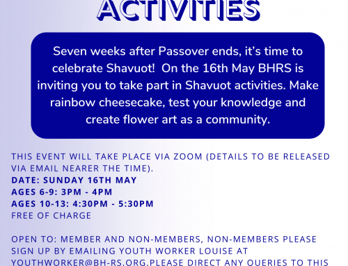 BHRS: Shavuot Youth Activities